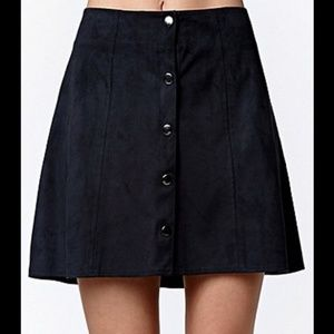 Kendall + Kylie Black Suede Button Down Mini Skirt